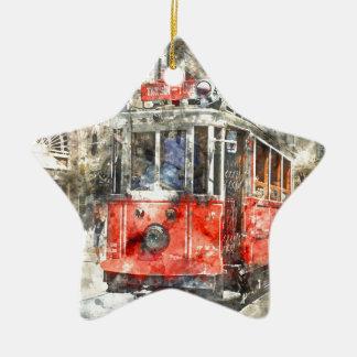 Istanbul Turkey Red Trolley Ceramic Ornament