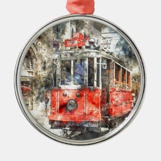 Istanbul Turkey Red Trolley Metal Ornament