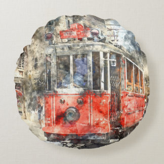 Istanbul Turkey Red Trolley Round Pillow
