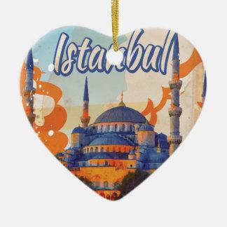Istanbul Vintage Travel Poster Ceramic Ornament