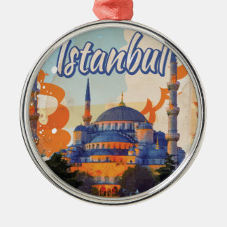 Istanbul Vintage Travel Poster Metal Ornament
