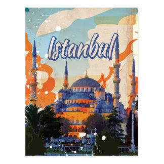Istanbul Vintage Travel Poster Postcard