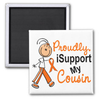 iSupport 1 SFT Leukemia MS Kidney Cancer COUSIN 2 Inch Square Magnet