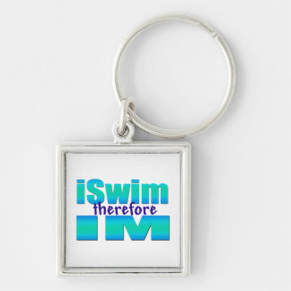 iSwim therefore IM Silver-Colored Square Keychain