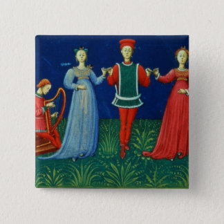 It 973 f.21v A Gentleman dancing with two Ladies, Pinback Button