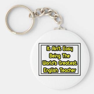It Aint' Easy...World's Greatest English Teacher Basic Round Button Keychain