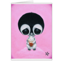 sugar, fueled, michael, banks, penguin, hot, cocoa, animal, creepy, cute, big, eyes, eyed, rainbow, happiness, happy, pink, cuddly, adorable, lowbrow, pop, surrealism, Card with custom graphic design