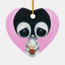 sugar, fueled, michael, banks, penguin, hot, cocoa, animal, creepy, cute, big, eyes, eyed, rainbow, happiness, happy, pink, cuddly, adorable, lowbrow, pop, surrealism, Ornament with custom graphic design