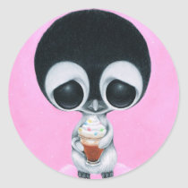 sugar, fueled, michael, banks, penguin, hot, cocoa, animal, creepy, cute, big, eyes, eyed, rainbow, happiness, happy, pink, cuddly, adorable, lowbrow, pop, surrealism, Sticker with custom graphic design