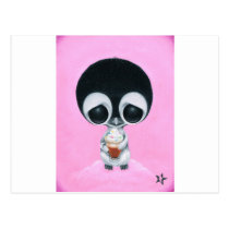 sugar, fueled, michael, banks, penguin, hot, cocoa, animal, creepy, cute, big, eyes, eyed, rainbow, happiness, happy, pink, cuddly, adorable, lowbrow, pop, surrealism, Postcard with custom graphic design