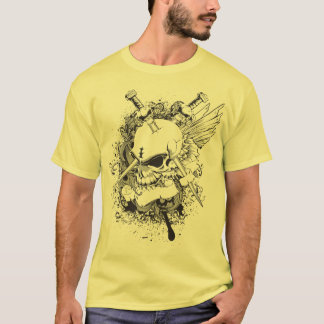 it becomes bald crossed black chest T-Shirt