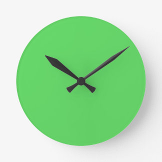 IT CAME FROM OUTER SPACE: ALIEN GREEN! solid color Round Clock
