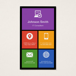 IT Consultant - Colorful Tiles Creative Business Card