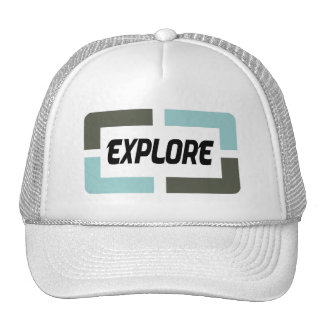 It explores (blue) trucker hat