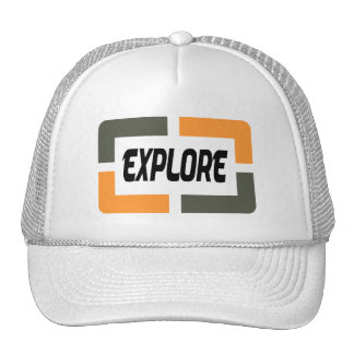 It explores (orange) trucker hat