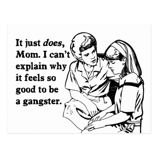 it feels good to be a gangster gangsta postcard
