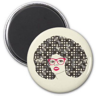 IT girl with sensual red lips and techie afro Magnet
