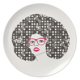IT girl with sensual red lips and techie afro Plate