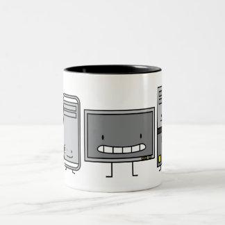 IT Happy PC and Mac Computer Family Two-Tone Coffee Mug