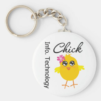 IT (Information Technology) Chick Basic Round Button Keychain
