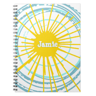 It Is a New Day Sun with Aqua Circles Spiral Notebook