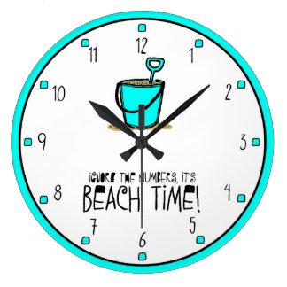 It is Beach Time Aqua Wall Clocks