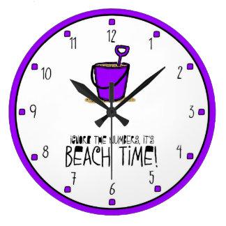 It is Beach Time Purple Wallclocks