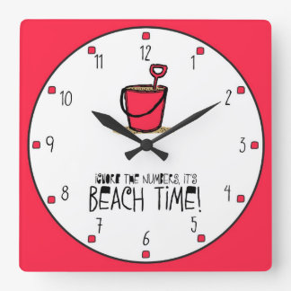 It is Beach Time Red Square Wallclocks