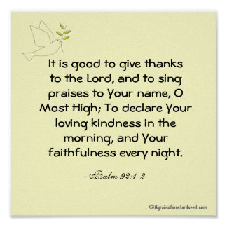 It is good to give thanks  Bible Quote Prayer Poster