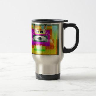 It is 15 oz stainless steel travel mug