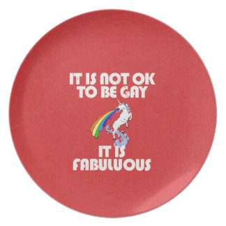 It is not ok to be gay. It is Fabulous Party Plate
