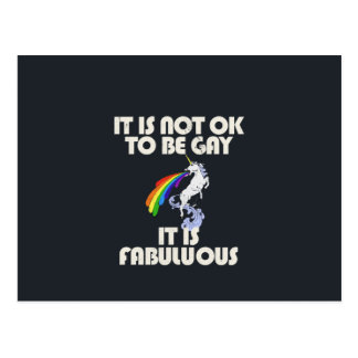It is not ok to be gay. It is Fabulous Postcard