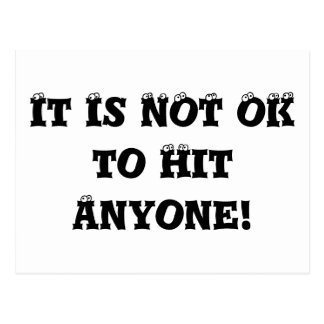 It Is NOT OK to Hit Anyone - Anti Bully Post Card