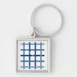 It is quick nine letters (blue color) Silver-Colored square keychain