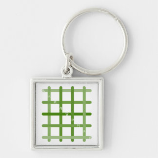 It is quick nine letters (green color) Silver-Colored square keychain
