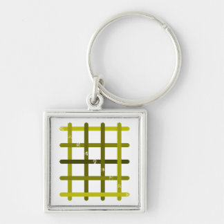 It is quick nine letters (olive) Silver-Colored square keychain