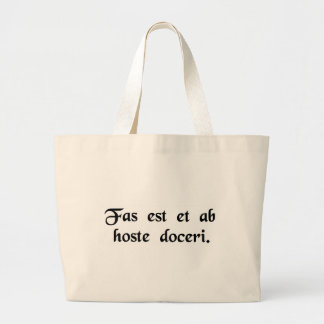 It is right to be taught even by an enemy. canvas bag