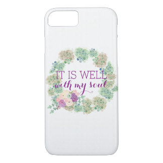 It Is Well Watercolor Wreath iPhone Case