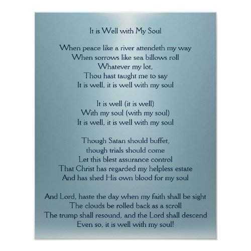 It is Well with My Soul Comforting Hymn Art Poster