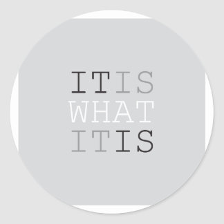 It Is What It Is - Gray Classic Round Sticker