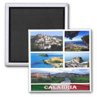 IT - Italy - Calabria - Collage Mosaic 2 Inch Square Magnet