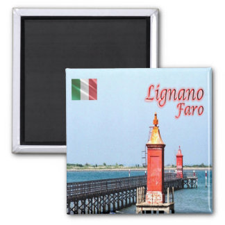 IT - Italy - Lignano - Lighthouse 2 Inch Square Magnet