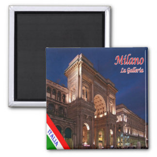 IT - Italy Milan Milano Galleria Vittorio Emanuele 2 Inch Square Magnet