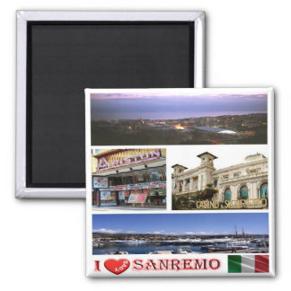 IT - Italy - Sanremo - I Love - Collage Mosaic 2 Inch Square Magnet