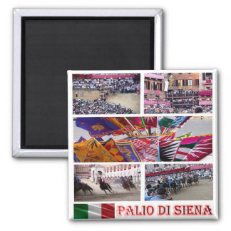IT - Italy - Siena-Il Palio-Mosaic 2 Inch Square Magnet