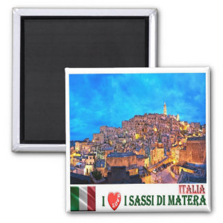 IT - Italy - The Sassi of Matera - I Love 2 Inch Square Magnet