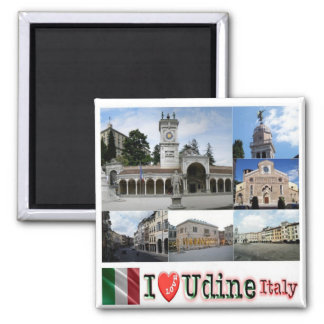 IT - Italy - Udine - I Love - Collage Mosaic 2 Inch Square Magnet