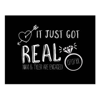 IT JUST GOT REAL Save The Date Engagement Postcard