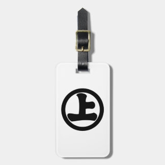 It lowers to the circle, on luggage tag