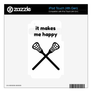 It Makes Makes Me Happy-Lacrosse Decal For iPod Touch 4G